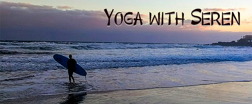 Banner Yoga with Seren, surf sunset scene